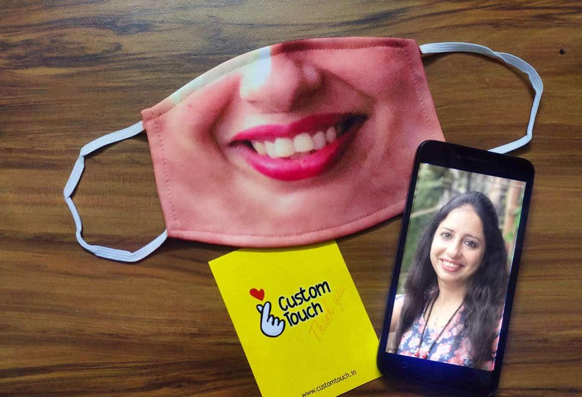 custom face mask on table